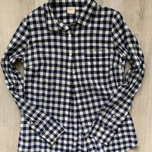 J. Crew navy blue and white button up